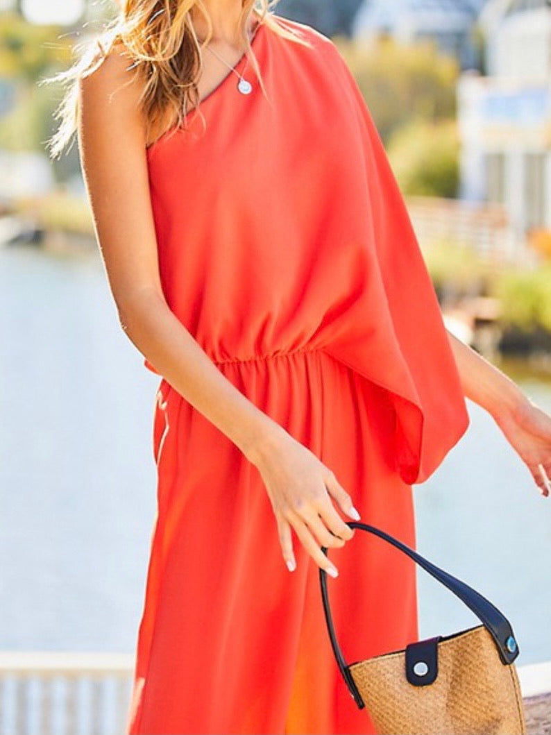 Coral Red Elegant One Shoulder Jumpsuit