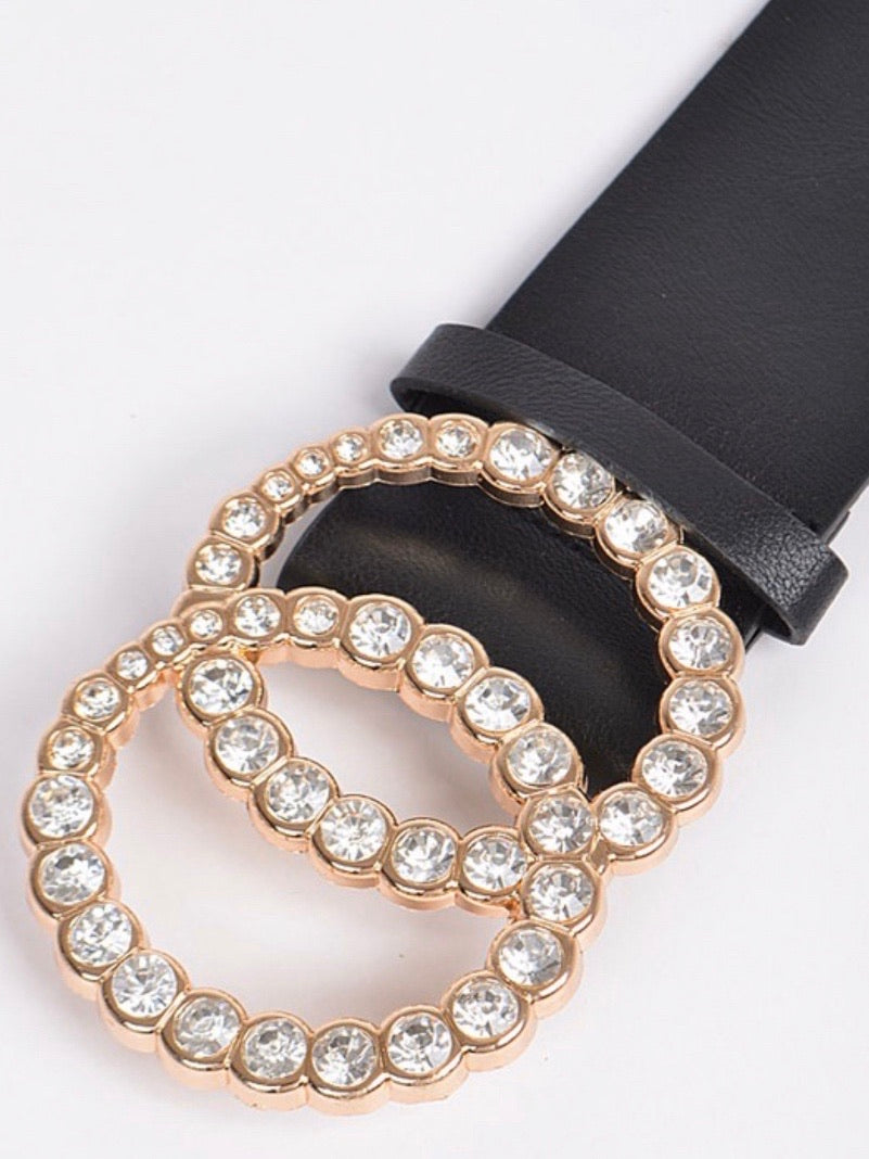 Rhinestone Double Ring Buckle Belt