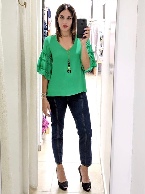Kelly Green Ruffles V Neck