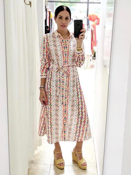 Geometric Print Shirt Dress