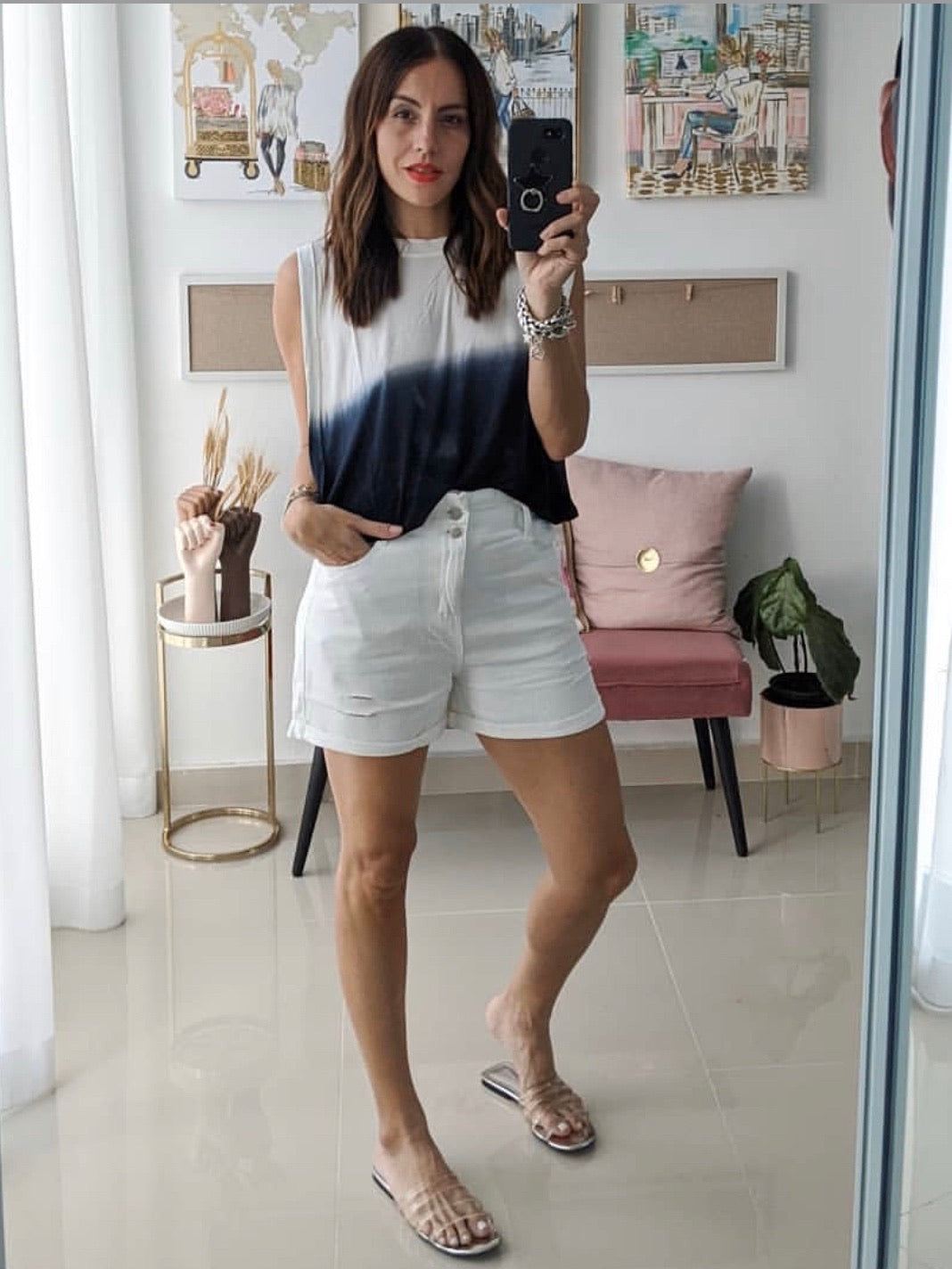 White Denim High Waist Short