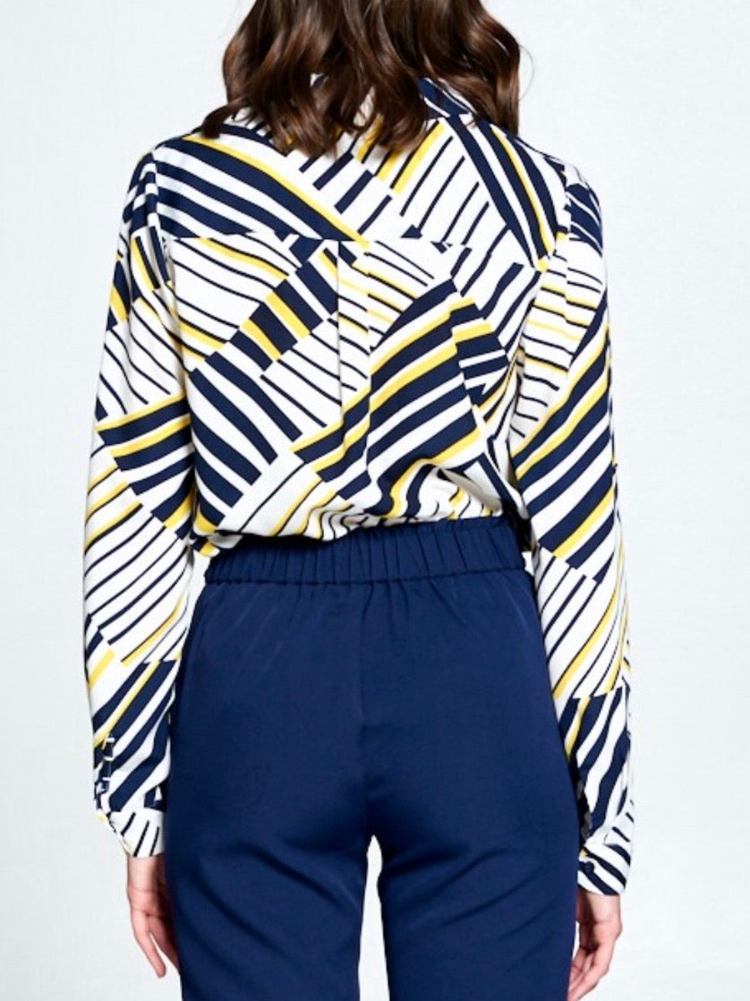 Navy Yellow Geo Button Down Blouse