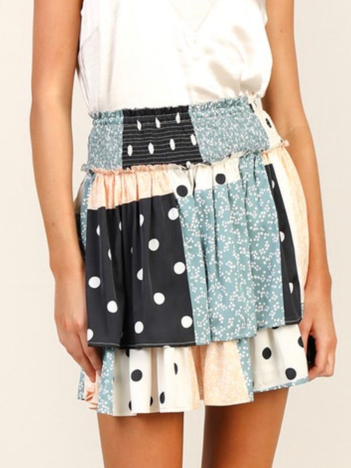 Patch Print Smocking Skirt
