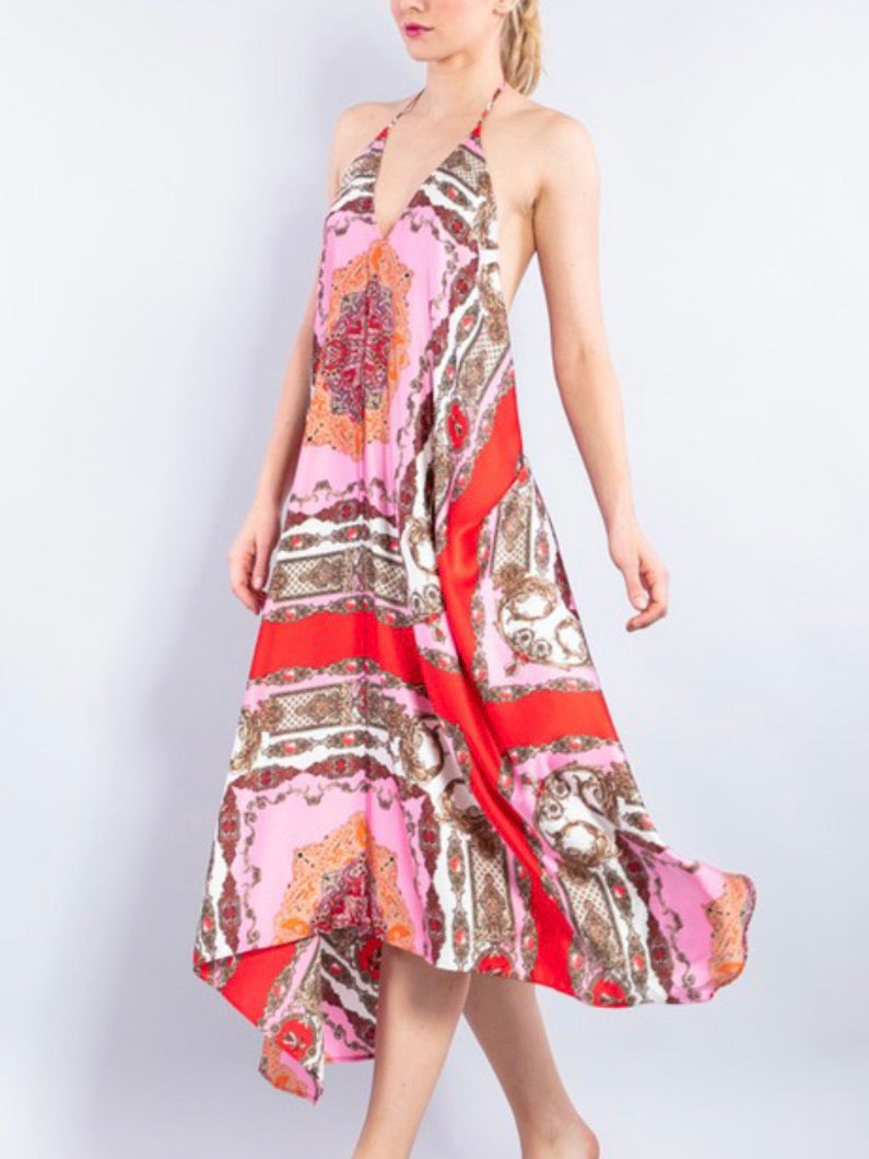 Rose Paisley Handkerchief Dress