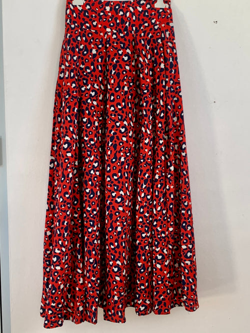 Red Cheetah Maxi Skirt