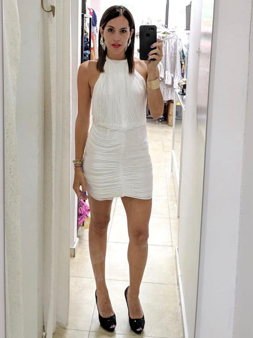 White Draped Fringe Mini Dress