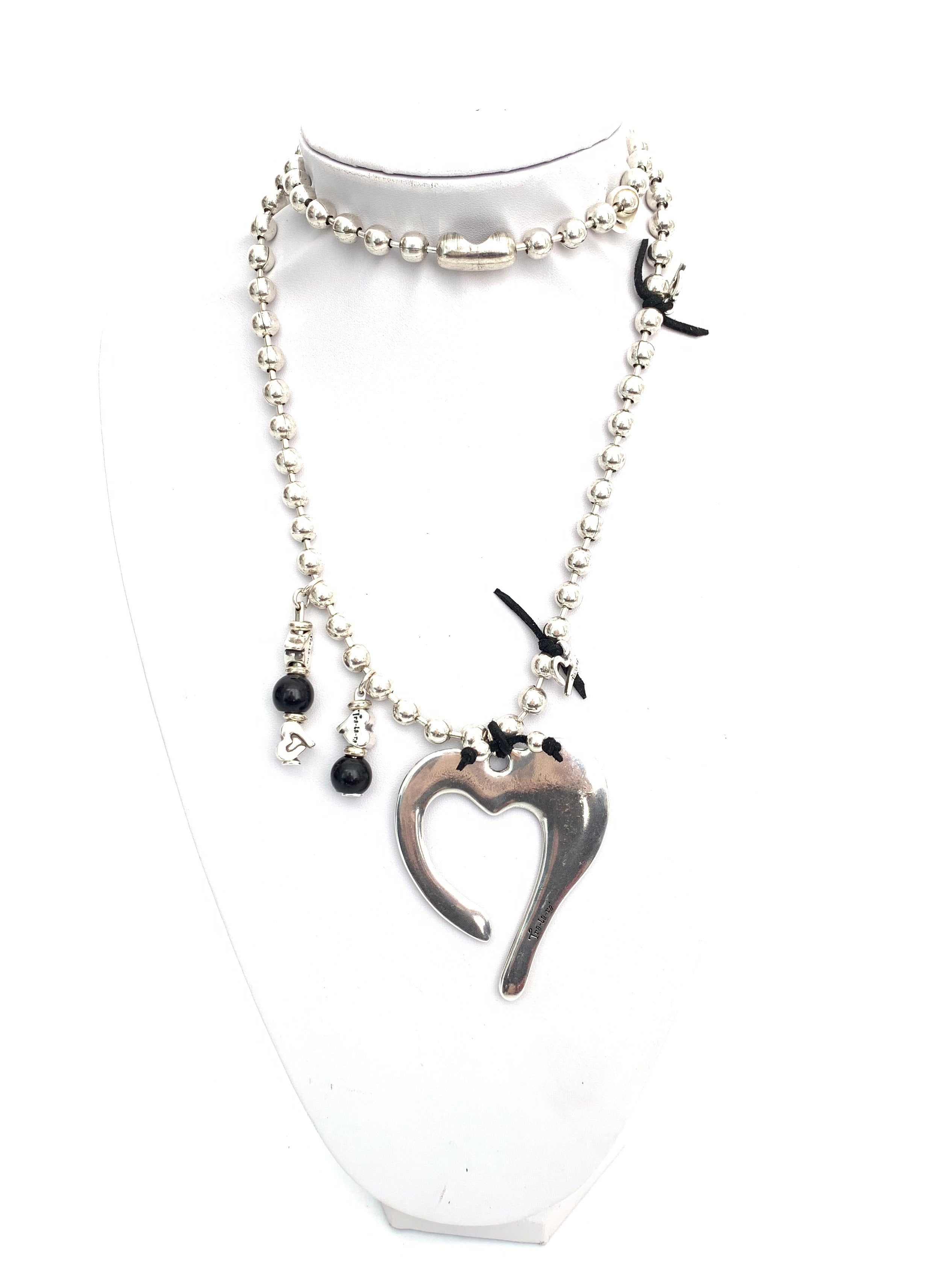Heart Leather Detail Long Necklace