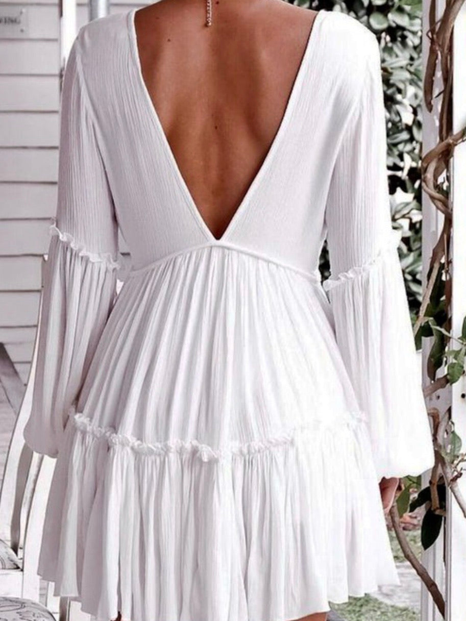 Boho Puff Sleeve V Neck Dress
