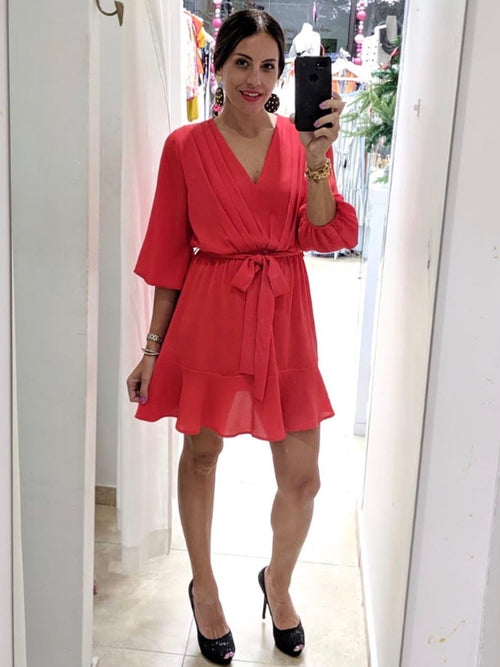 Red Long Puff Sleeve Dress