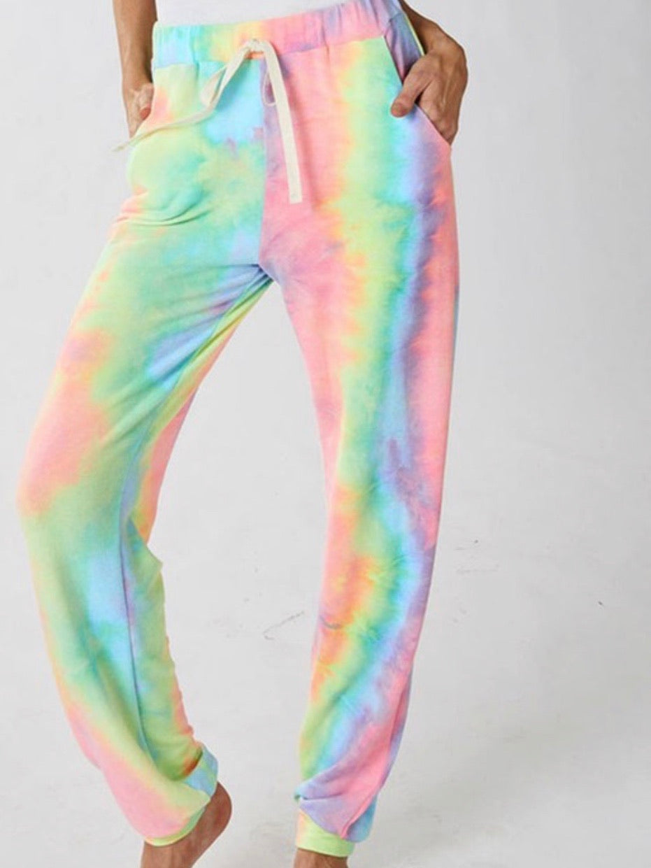 One Shoulder Tie Dye Long Loungewear Set