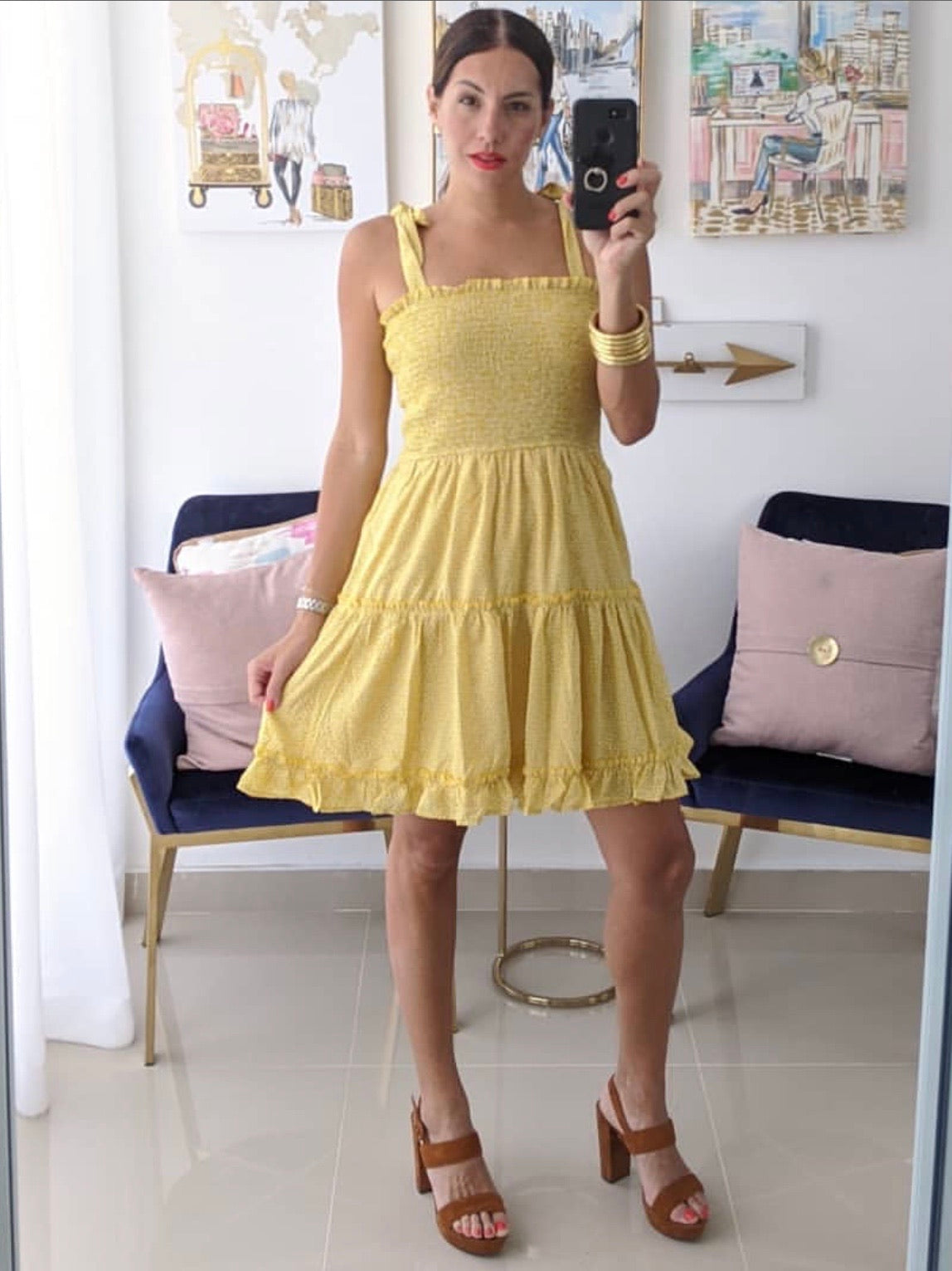 Smocked Tie Short Dress