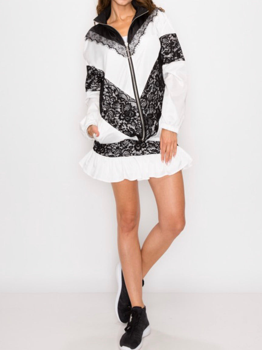White Black Lace Windbreaker Skirt Set