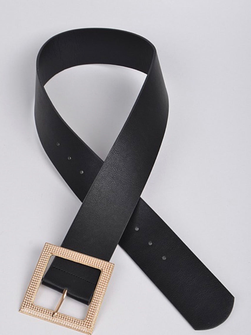 Black Gold Square Pearl Buckle Belt
