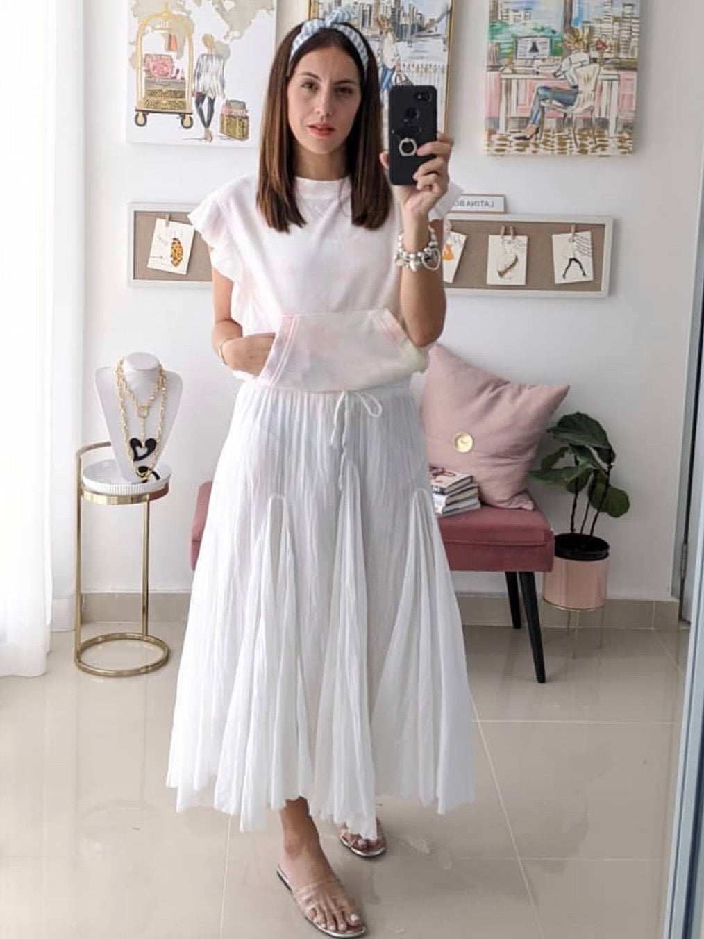 White Cotton A Line Midi Skirt
