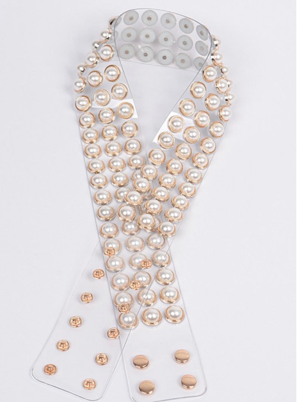 Pearl Studded Clear Belt