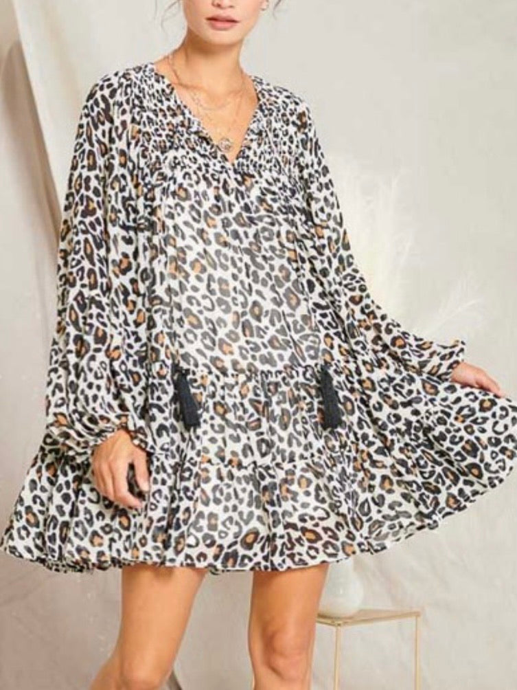 Leopard Print Comfy Shift Dress