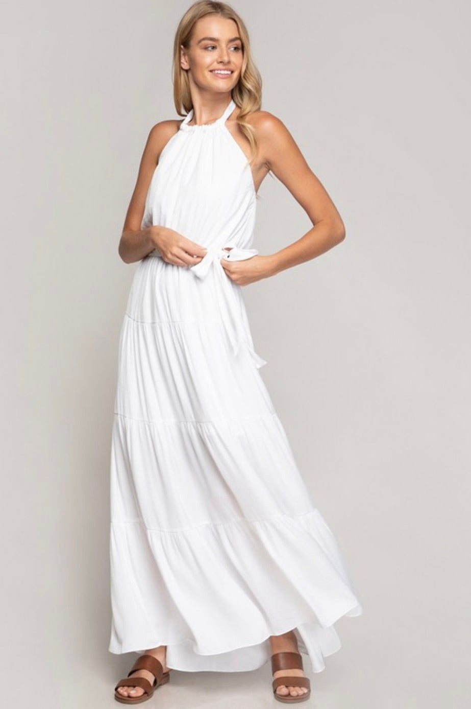 Tiered Halter Maxi Dress