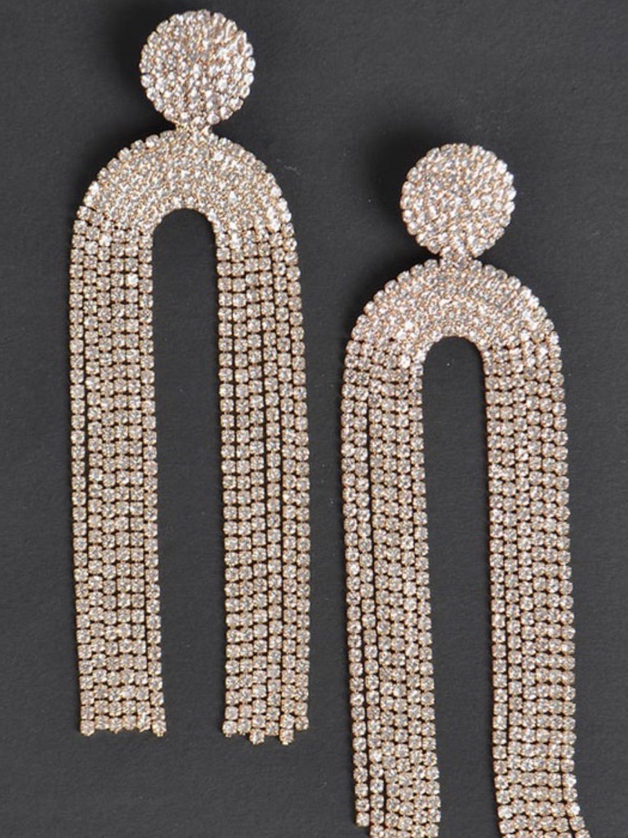 Curtain Rhinestone Stud Earrings