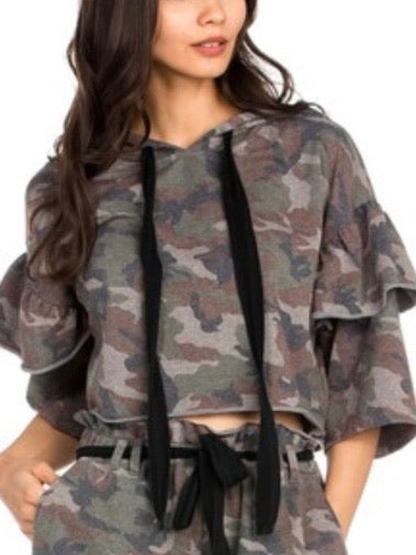 Camo Lace Up Crop Top