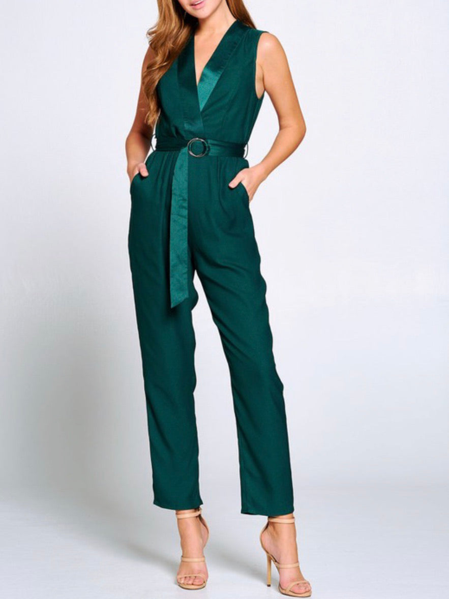 Forest Green  Tux Sleeveless Jumpsuit