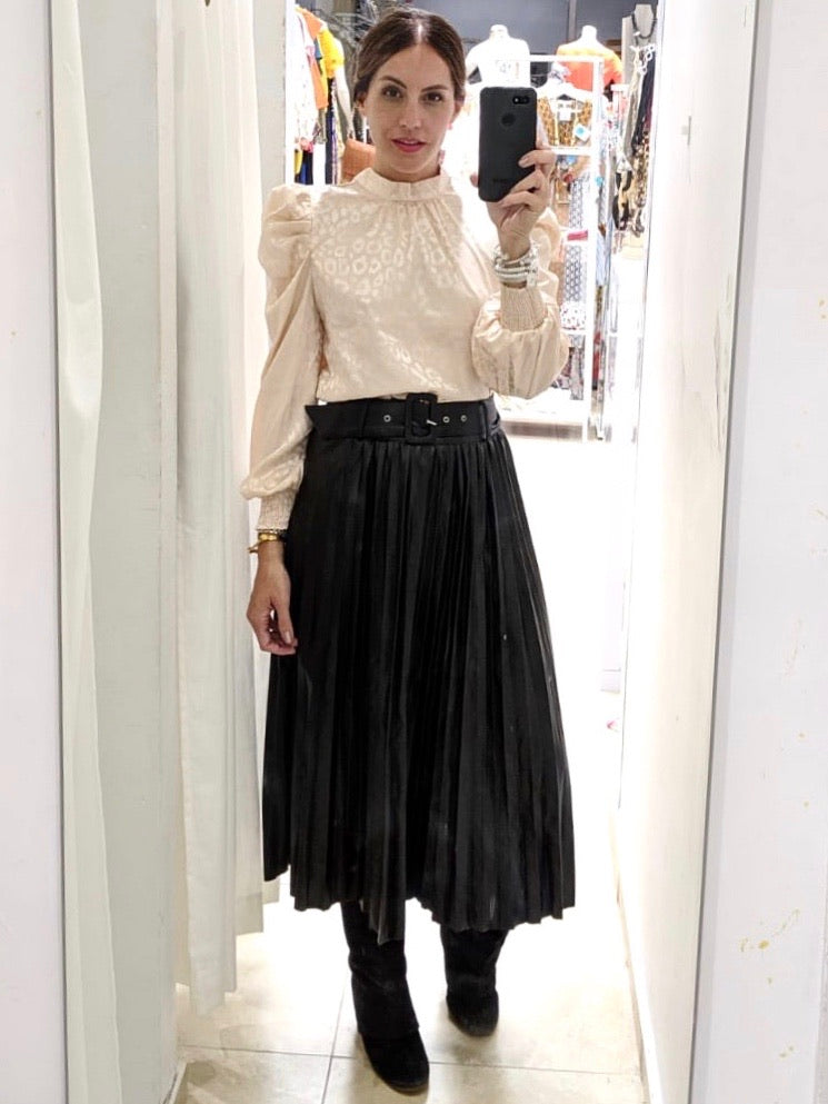 Black Pleather Pleated Midi Skirt