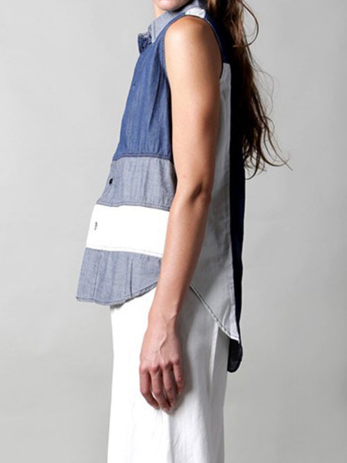 Denim Color Block Top