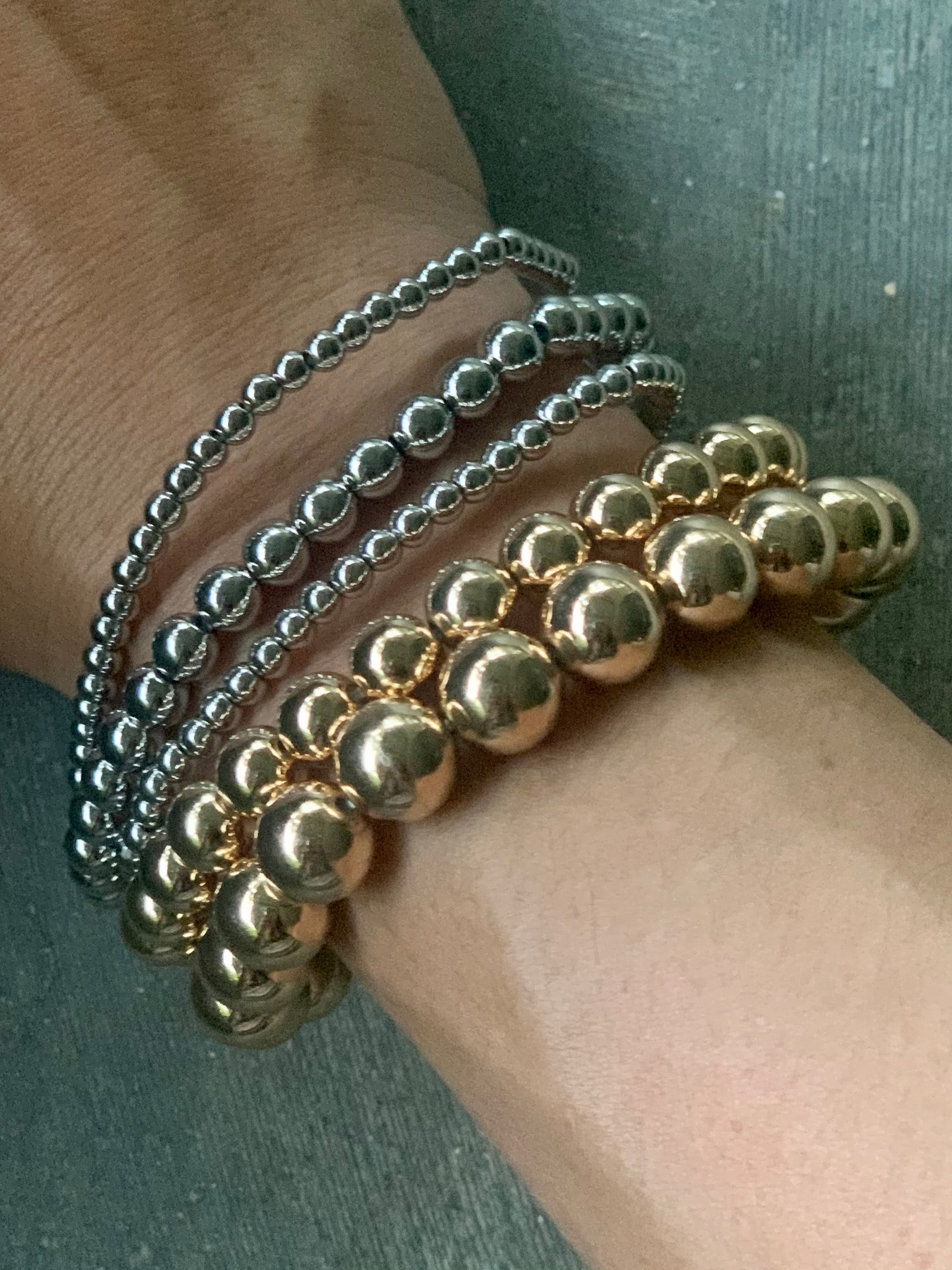 Gold Silver Beads Stretch Bracelets