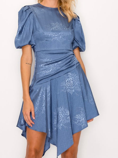Slate Blue Asymmetrical  Dress