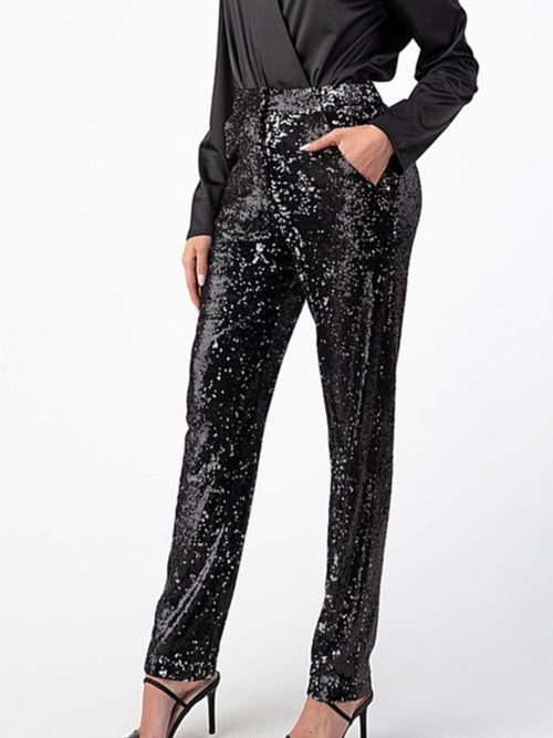 Black Sequin Stratight Leg Trouser