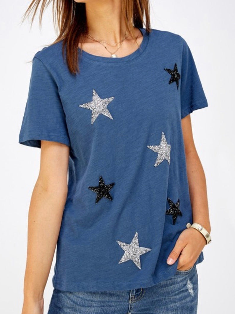 Gliiter Star Patched Top