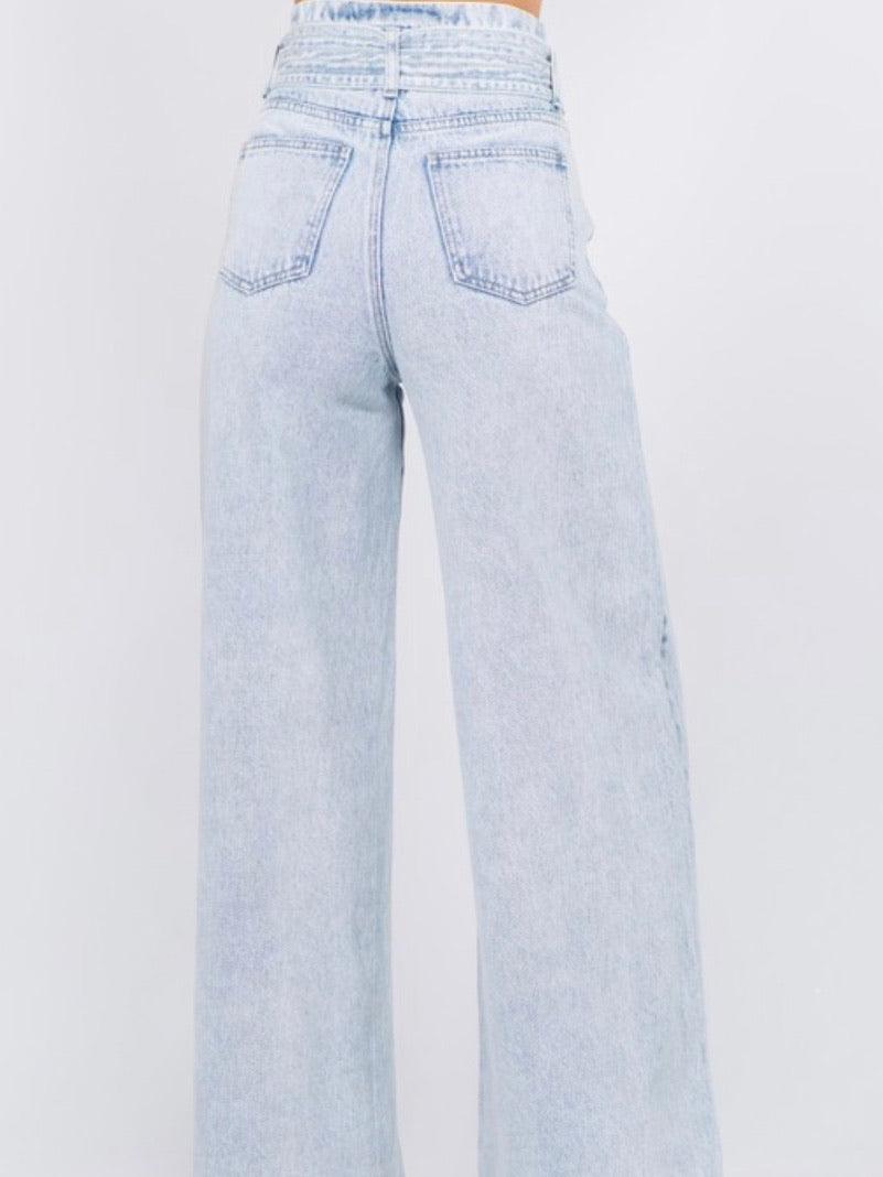 Light Denim Wide Leg Trouser
