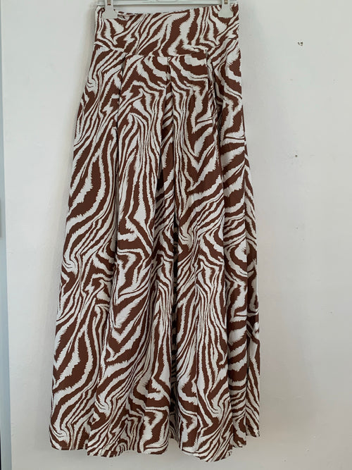 Brown Zebra Print Masxi Skirt