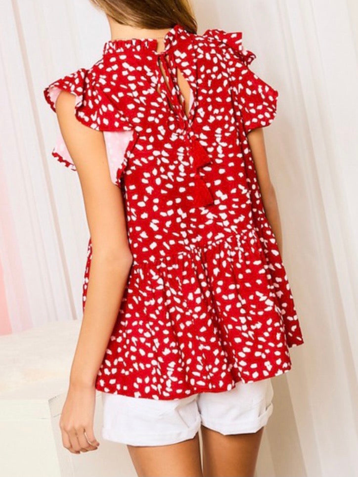 Red Leopard Tiered Top
