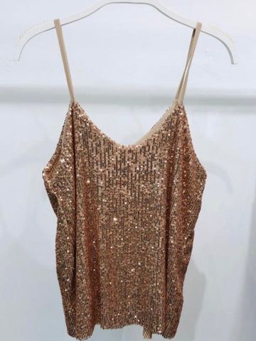 One Shoulder Metallic Cami
