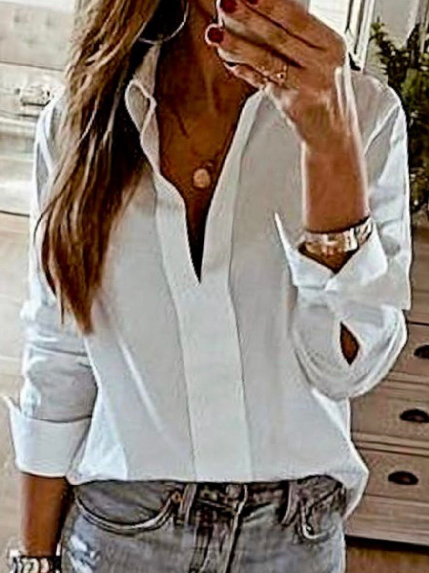 Turn Down Collar V Neck Blouse