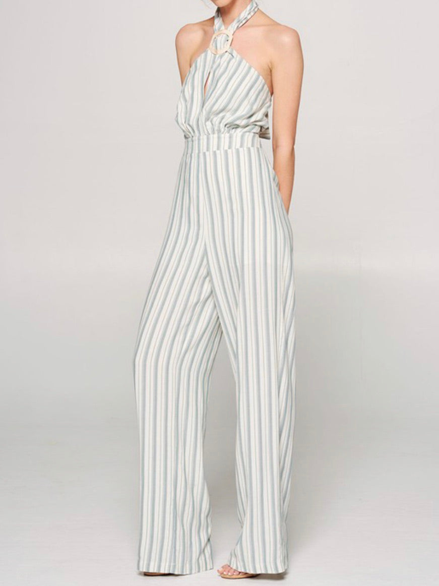 Green Striped Halter Jumpsuit