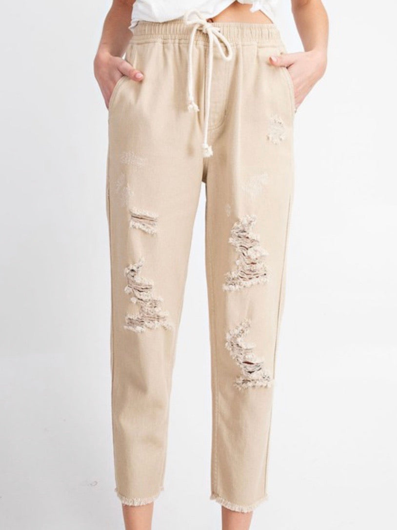 Distressed Cropped Pants