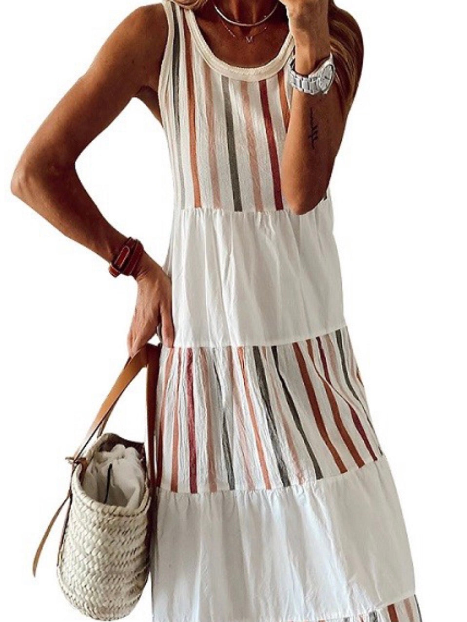 Tiered Stripe Block Maxi Dress