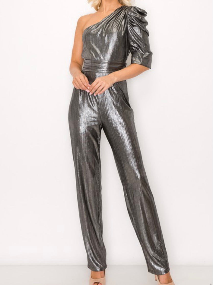 Silver One Shoulder Jumpsuit