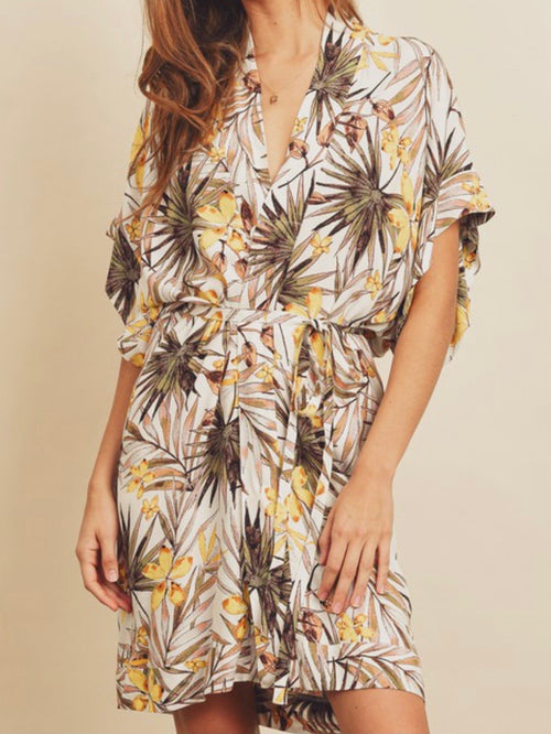 Tropical Kimono Short Dress