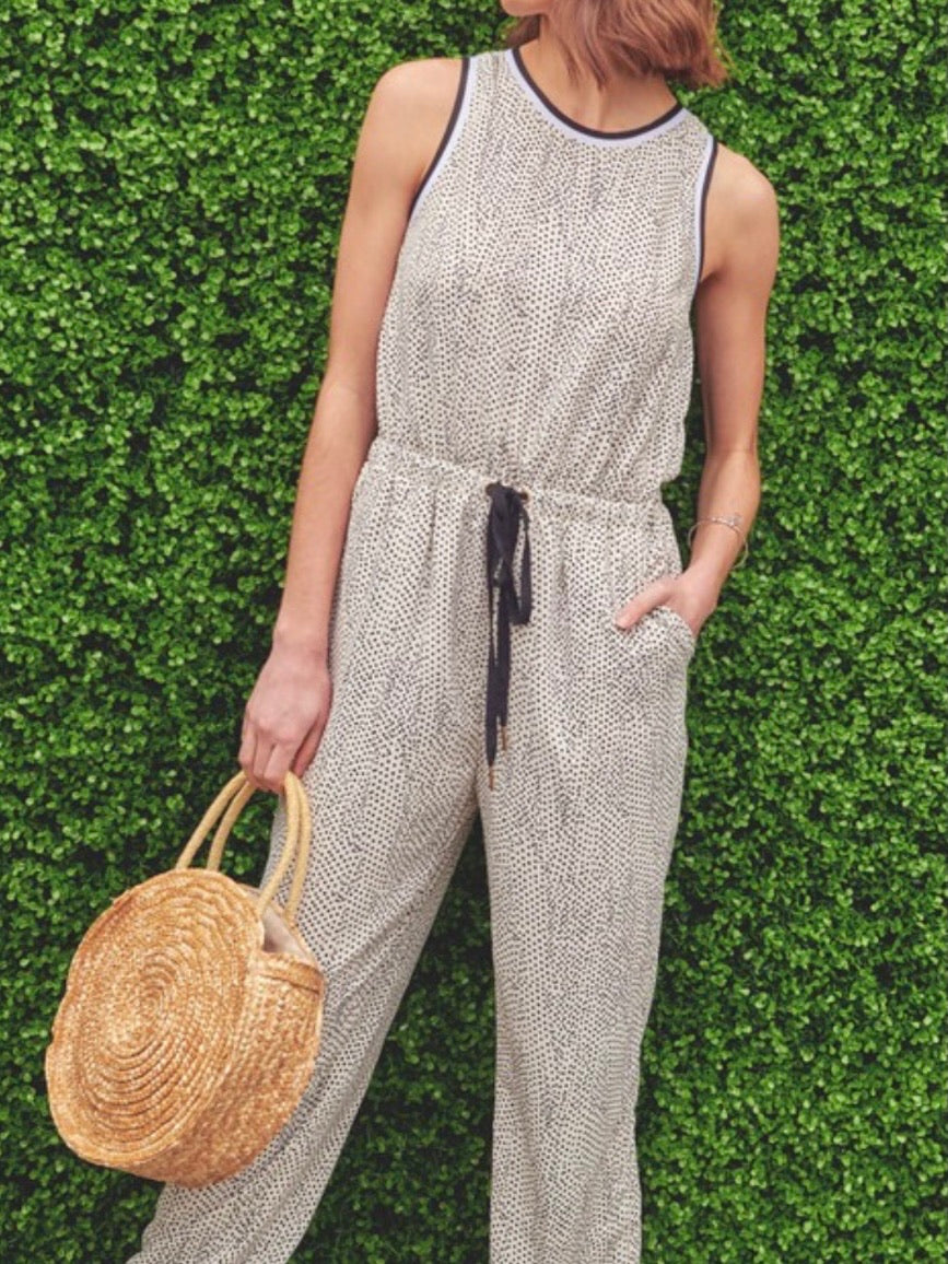 Polka Dot Trimmed Jumpsuit