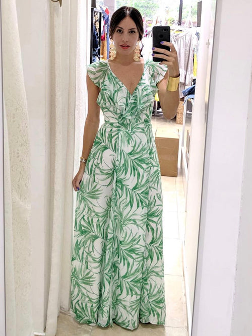 Leaves Wrap Maxi Dress