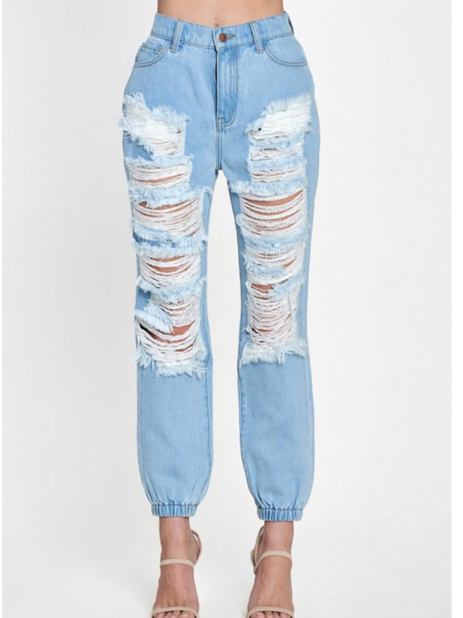 Distressed Jogger Denim