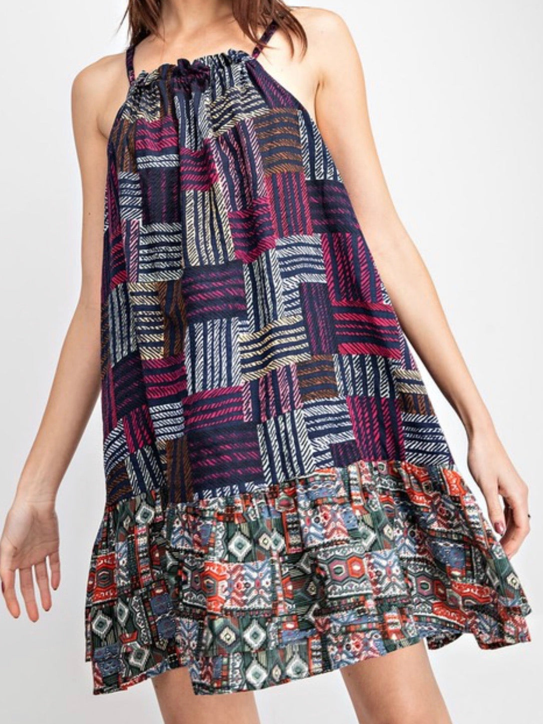 Navy Printed Halter Dress