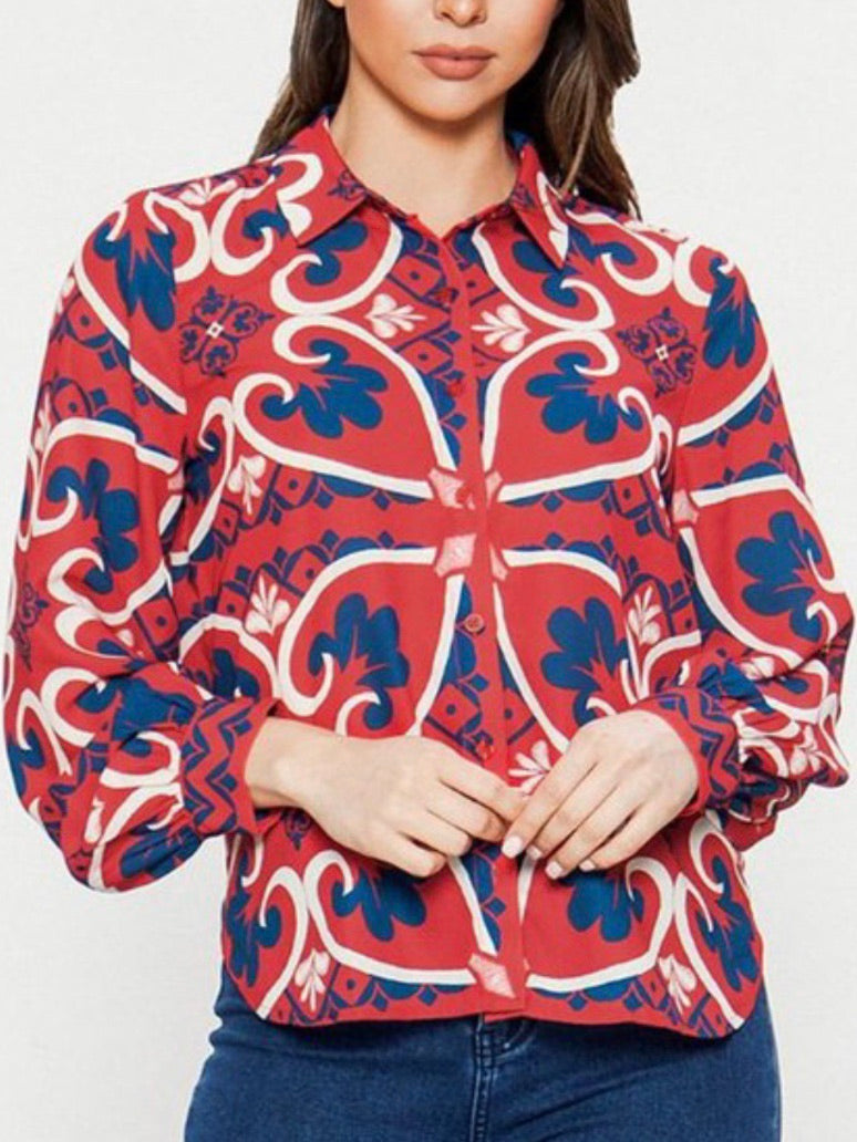 Red Ornate Print Blouse