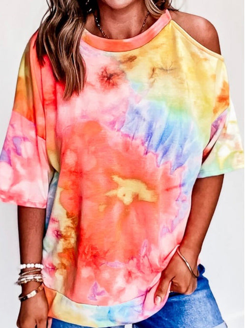 Tie Dye Coutout Sweater Top
