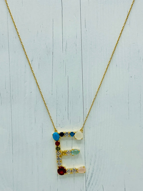 Rainbow initial Necklace (Large)