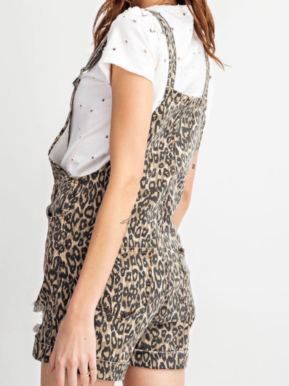 Brown Leopard Short Overall