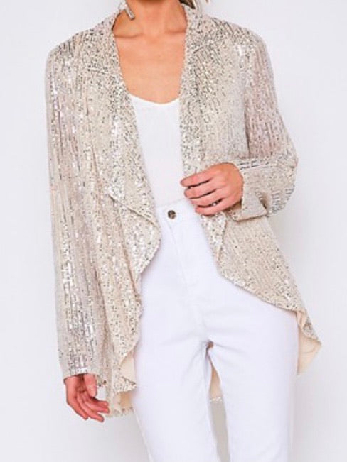 Taupe Sequin Drapery  Open Jacket