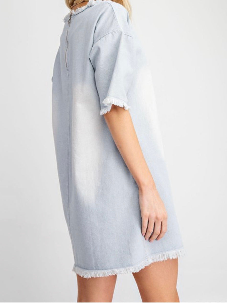 Light Denim Frayed Short Dress